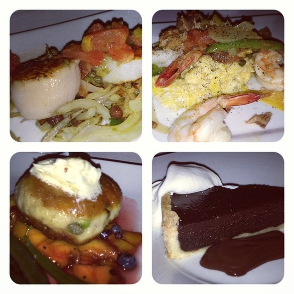U-571 scallop over grilled vegetables, mid-Atlantic shrimp & grits, blue crab cake over grilled peaches and blueberries & Salty dog chocolate cake for @ The Stove