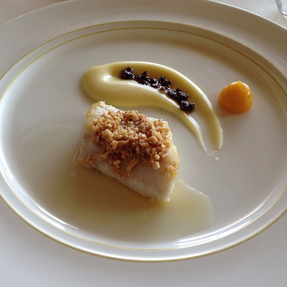 Seabass A La Plancha, Kumquat Jelly, Elderflower Vinaigrette @ Le Normandie