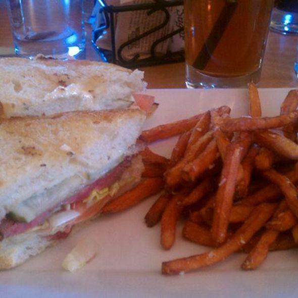 Strip Steak Sandwich With Sweet Potato Fries @ AIDA Bistro & Wine Bar