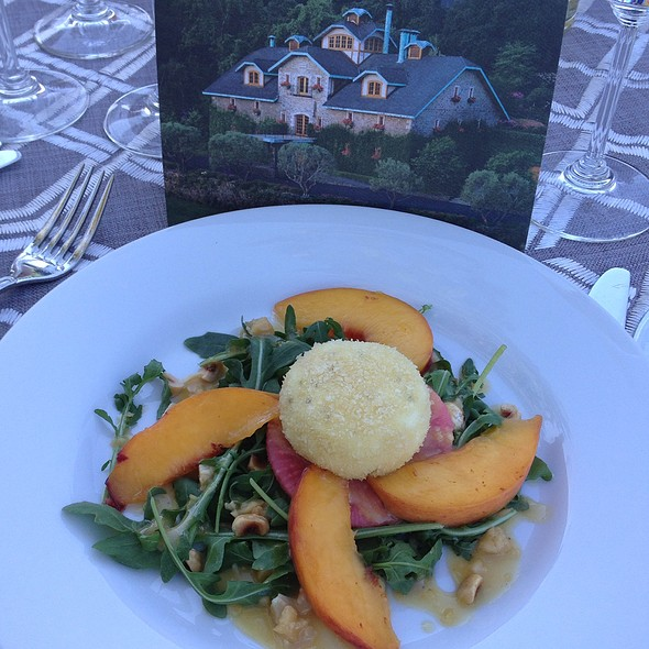 Arugula Salad With Nectarines, Hazelnuts And Goat Cheese Medalion @ Far Niente Winery