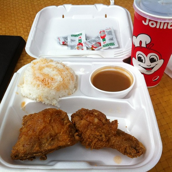 2 Piece Chickenjoy with Rice & Gravy, Tabasco All Over, and Medium Mug's Root Beer
