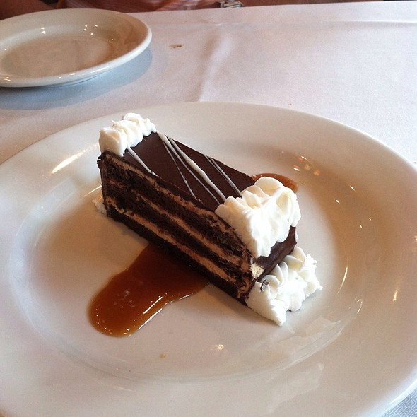 Chocolate Mousse Cake With Salted Caramel Sauce - Libby's Cafe & Bar, Sarasota, FL