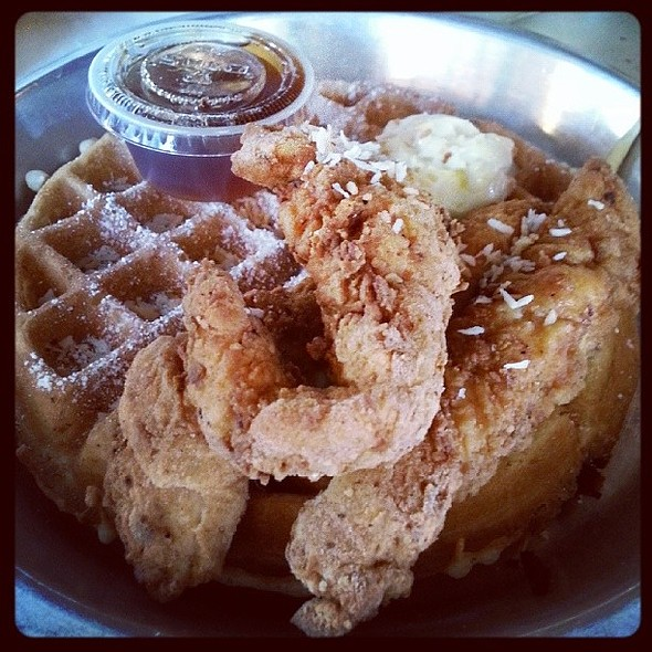 Chicken and coconut waffle @ Chicken Scratch