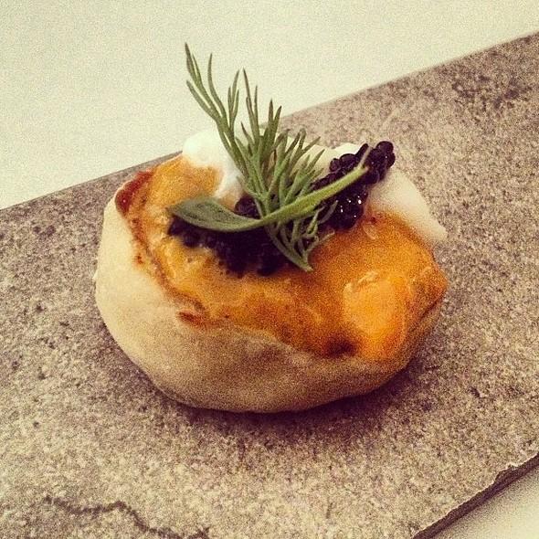Uni, Caviar, Creme Fraiche on English Muffin @ Alma