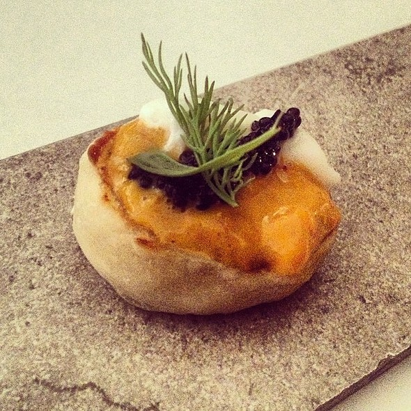 Uni, Caviar, Creme Fraiche on English Muffin @ Alma