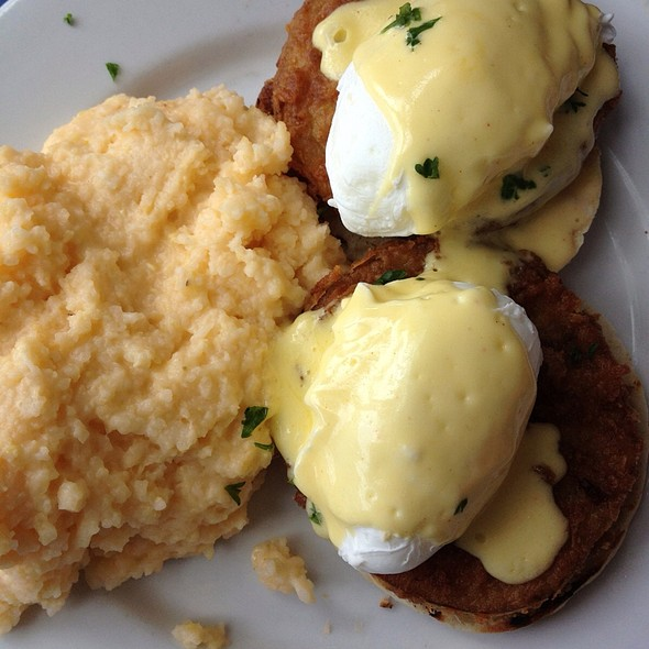 Bold City Fried Green Tomato Benedict - The Blue Fish Restaurant, Jacksonville, FL