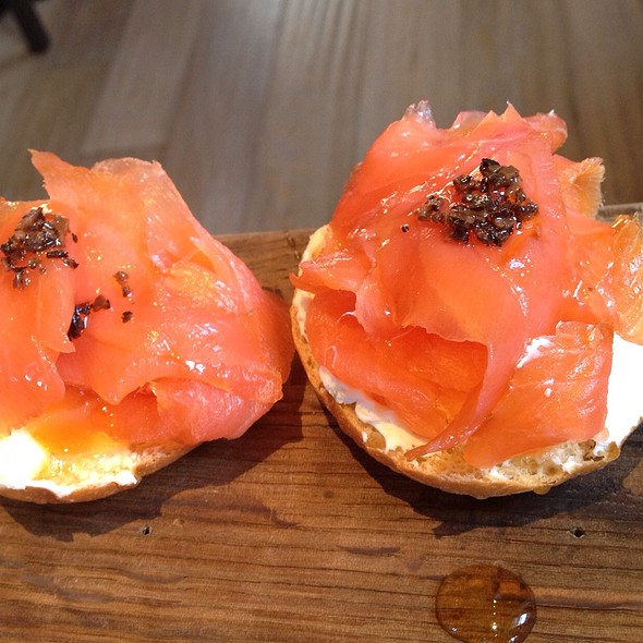 Smoked Salmon Montadito With Queso Fresco & Truffle Honey @ Coqueta