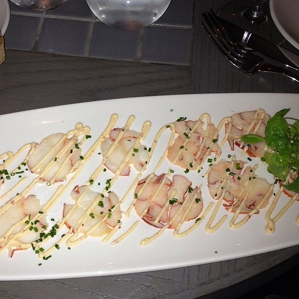 Lobster Carpaccio @barawine. Not as compelling as the name would suggest. Needs texture and acid. @ Barawine