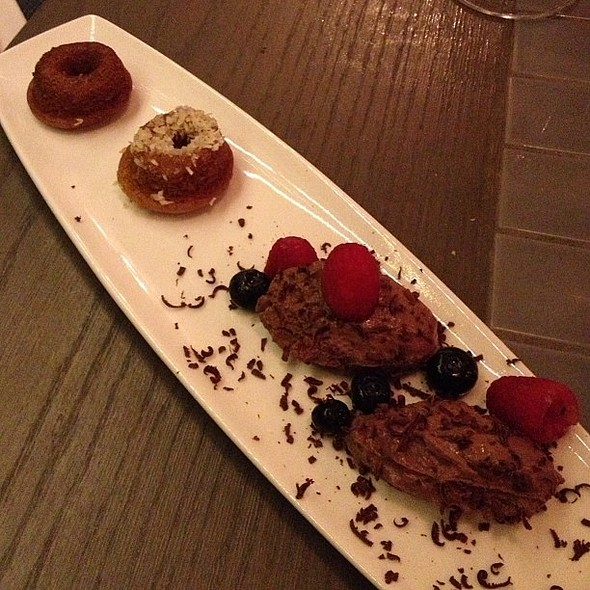 Vegan chocolate mousse+donuts @barawine. Sorry, it does taste vegan...looking forward to St. Germaine sorbet tho! @ Barawine