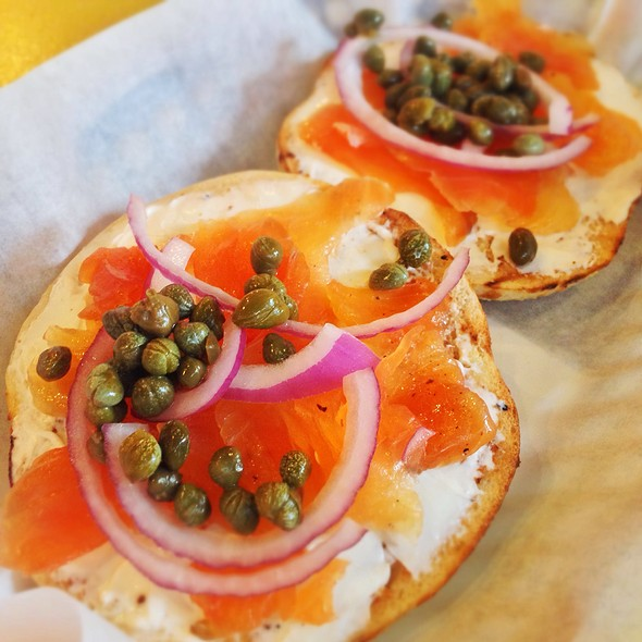 Bagel with Lox and Cream Cheese @ Cherry Street Coffee House