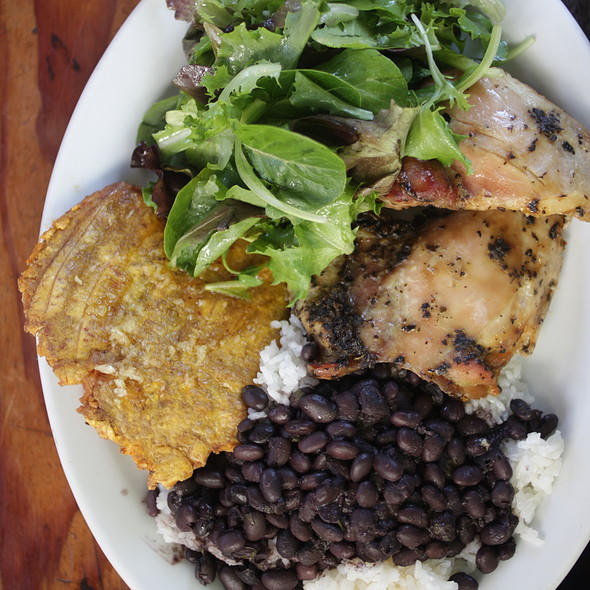 "Pollo al Horno 2pc with black beans and ""both"" plantains"