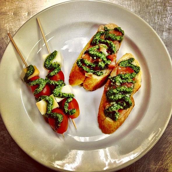 Tomato and Mozzarella Skewers with Bruschetta Pomodoro @ County Line On The Lake