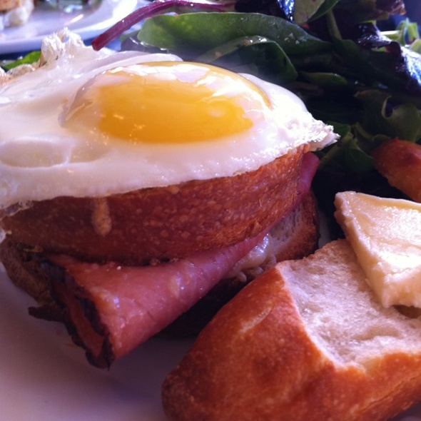 toasted brioche layered with ham & gruyere and topped with a fried egg @ Bonjour Brioche