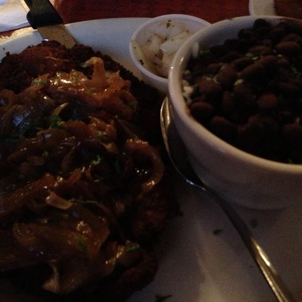 Breaded Steak With Black Beans - White Rice