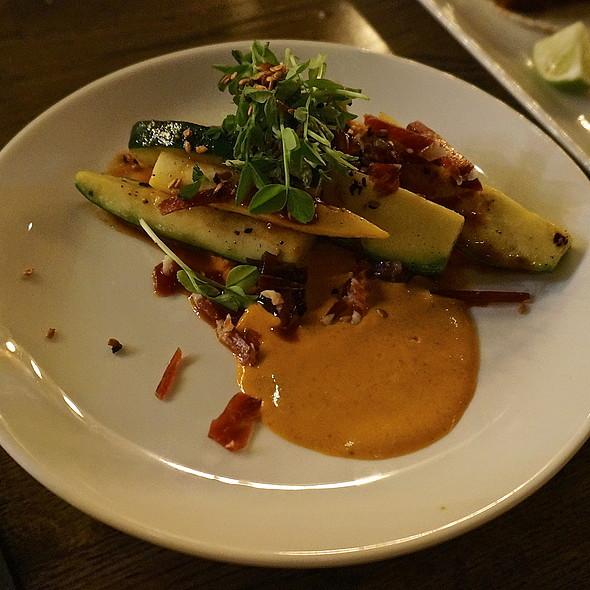 Grilled summer squash, cucumber kimchi | guajillo ricotta |  serrano ham | pea shoots | sesame - Takito Kitchen - Wicker Park, Chicago, IL