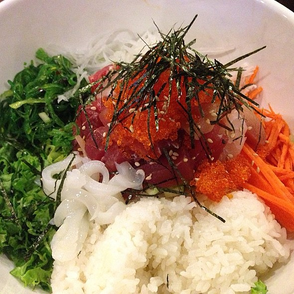 ! Korean chirashi: diced raw fish and fresh vegetables with Korean spicy sauce on the side. @ Katana Sushi & Sake