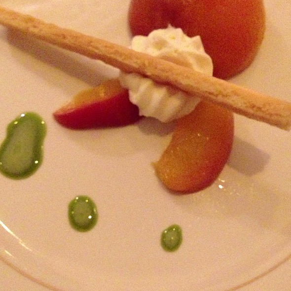 Poached Peaches Marscapone Mousse Basil - Southerly Restaurant and Patio, Mount Pleasant, SC