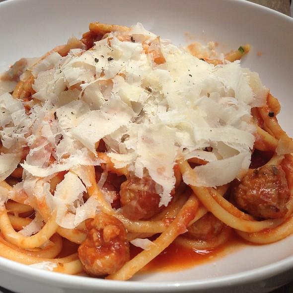 Bucatini Pasta With Pork Sausage And Tomato Sauce @ Wildflour Café + Bakery