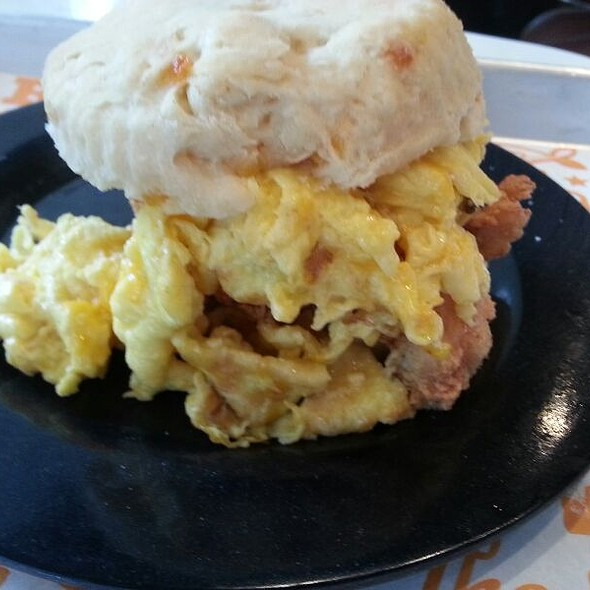 Cheddar Chicken Biscuit With Scrambled Eggs @ Chick-A-Biddy