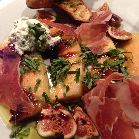 Prosciutto & Melon With Arugula, Fig Vinegar, And Basil Chiffonade - Crow, Seattle, WA