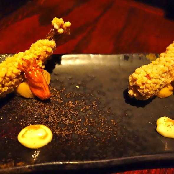 Softshell shrimp with crispy rice crackers - Zenkichi, Brooklyn, NY