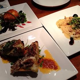 Duck Ravioli, Braised Short Rib Bruschetta, And Cranberry Chèvre Fritter