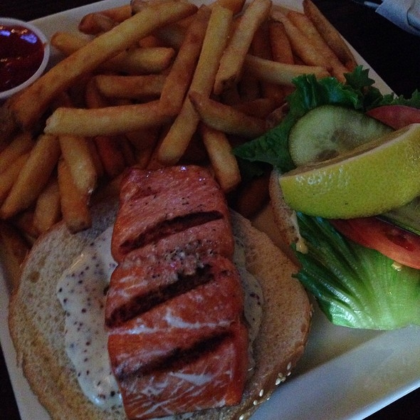 Salmon burger @ Buck & Ear Bar & Grill The