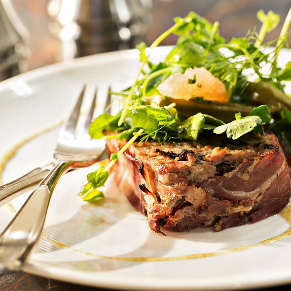 Grilled Wild Boar Terrine with Pickled Okra, Parsley-Grape Fruit Salad and Mustard Dressing