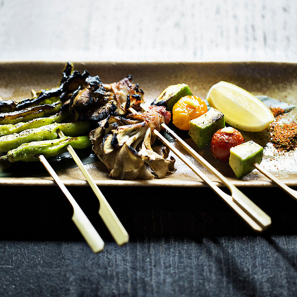 Robata Grilled Shishito Peppers with Ponzu and Bonito Flakes