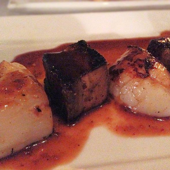 Five Spice Pork Belly, seared Scallop with Asian Salad and spicy ...