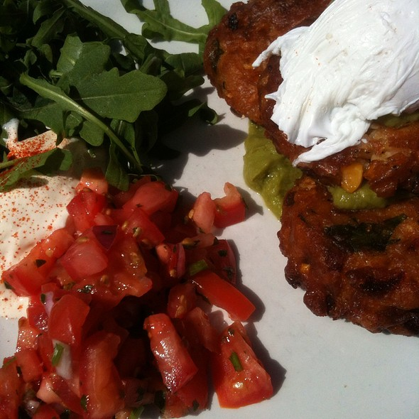 Corn Fritters With Poached Eggs