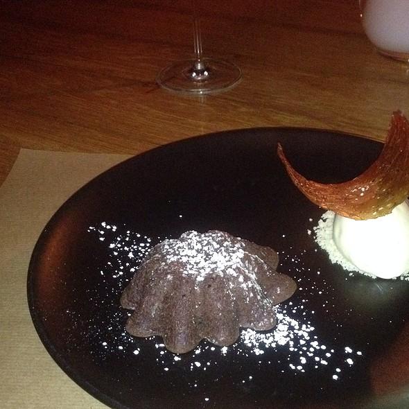 warm chocolate cake with ice cream and caramel - J&G Steakhouse Scottsdale at The Phoenician, Scottsdale, AZ