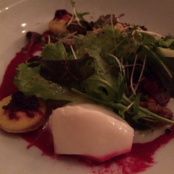 Goat Cheese Panna Cotta & Beetroot Tart, Mixed Mesculin Leafs With Hazelnut Dressing @ Brasserie One