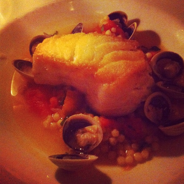 Roast Chatham Cod With Manila Clams, Fregola Sarda Pasta, Tomato And White Wine - Lure New York, New York, NY
