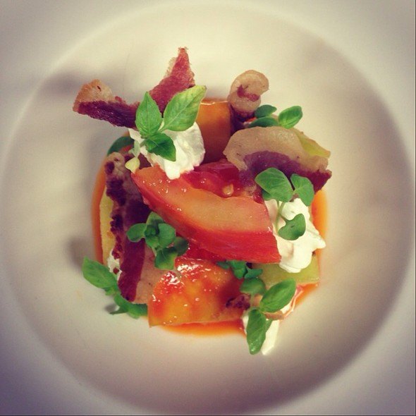 Garden Heirloom Tomatoes/ Ancho Chili Vin/ Guanciale/ Basil