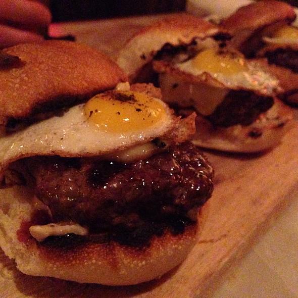 Kobe Beef Sliders With Quail Egg - Lucky's Lounge, Boston, MA
