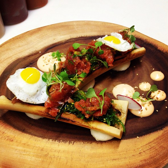 Bone Marrow with Tuna Tartare & Fried Quail Eggs! Good but I think I'm missing what makes this so special. I'll have to try it again before I can have a real opinion on it. - OAKLEYS bistro, Indianapolis, IN