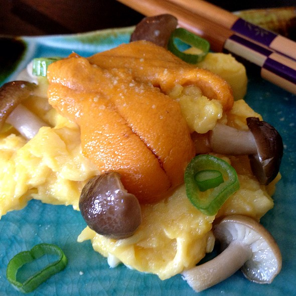 Soft Scrambled Eggs With Uni And Bunashimeji Mushrooms @ Giddy Gastronaut Kitchen