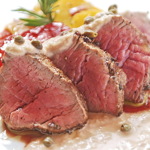 Peppered Tenderloin of Veal with Tuna Sauce or Stroganoff Sauce