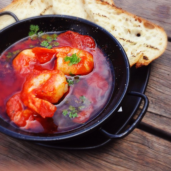 Tiger Prawns W Chorizo, Caramelized Onion, Tomato, Grilled Ciabatta at ...