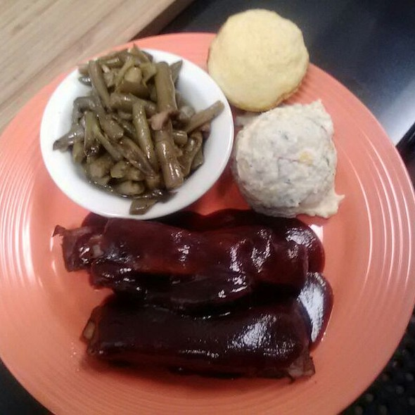 Ribs, Green Beans, Potato Salad and Corn Bread