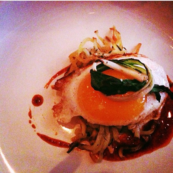 Fried Duck Egg With Harissa - bacaro, Champaign, IL
