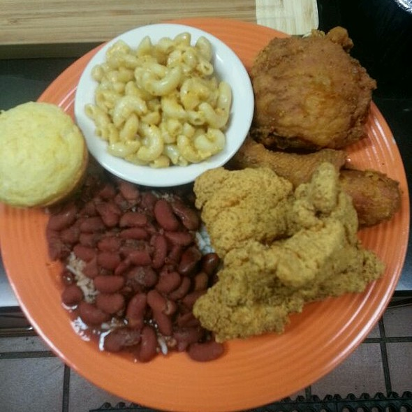 Fried Chicken, Catfish, Red Beans and Rice, Mac and Corn Bread