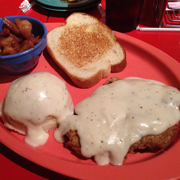 Chicken Fried Steak, Mashed Potatoes And Cinnamon Apples @ Spoons Cafe, Breakast Restaurant, Lunch, Bakery and Bar