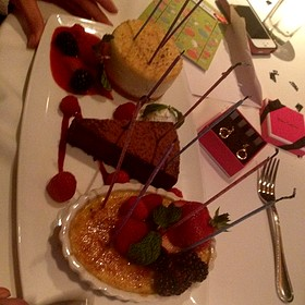 Creme brulee, triple chocolate, double baked cheesecake dessert trio - The Capital Grille - Fort Worth, Fort Worth, TX
