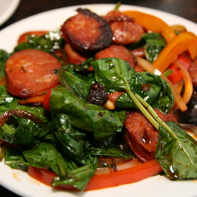 Spinach and Chorizo with Raisins and Pine Nuts