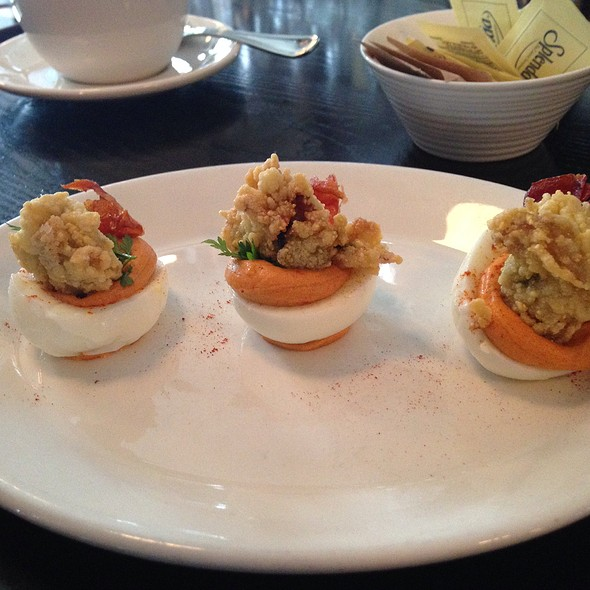 Deviled Eggs with Bacon and Fried Oysters @ Hog & Rocks