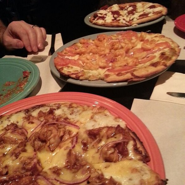 Wood Fired House Pepperoni, House Shrimp, & BBQ Chicken Pizzas @ Some Guys Pizza Pasta Grill