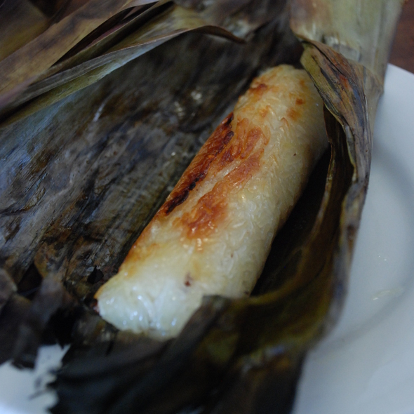 Grilled Sticky Rice Dumpling With Banana (Ansom Jeight Aung)