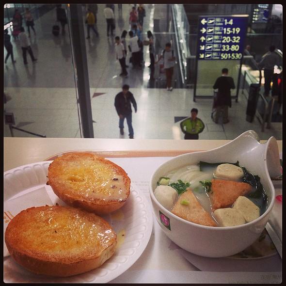 Crispy Bun W/ Sweet Condensed Milk & Fish Ball/Fish Cake Soup @ Tsui Wah Eatery